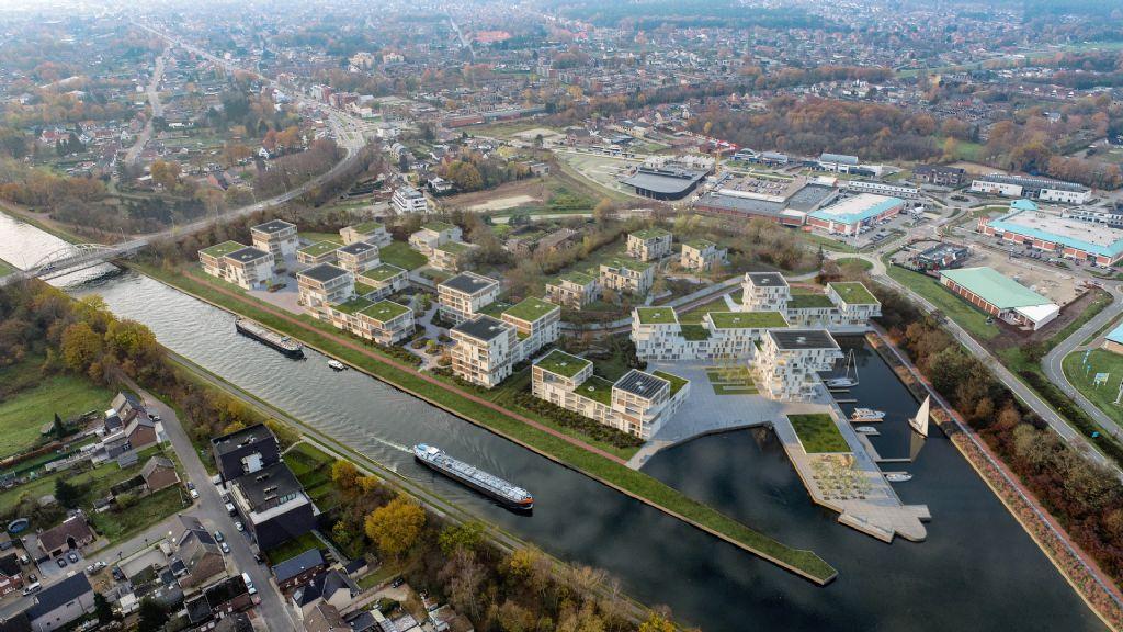 393 appartementen en jachthaven geven nieuwe toekomst aan vroegere scheepswerf in Maasmechelen (MaMu Architects)