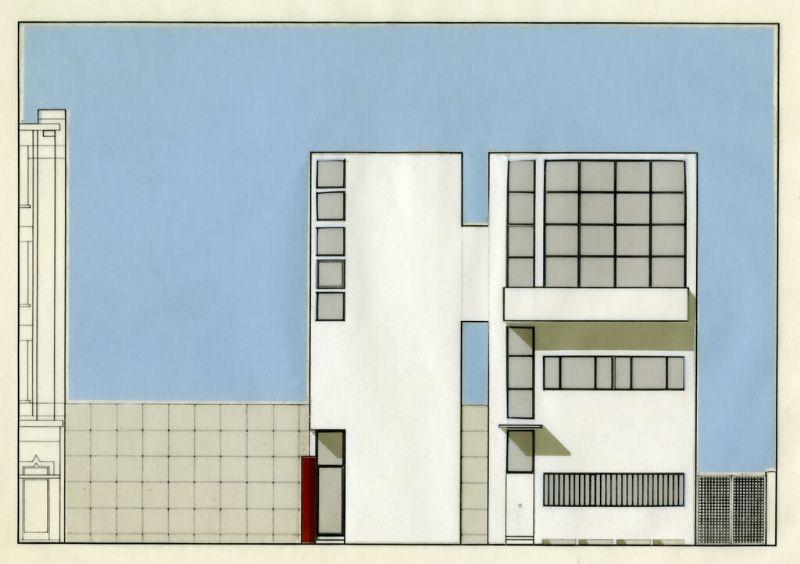 Het voorontwerp van de uitbreiding van de woning Guiette.