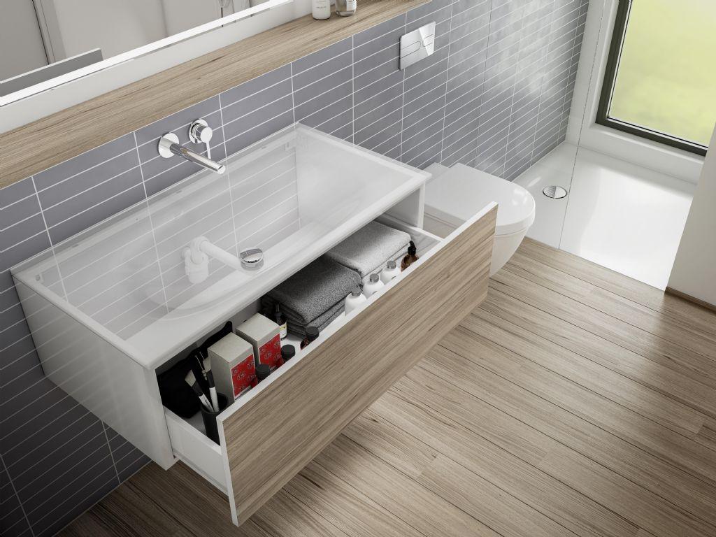 Le bas des lavabos plus accessible avec le siphon à faible encombrement de Viega