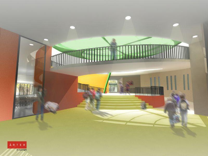 Het grootste deel van de klas is onafhankelijk van kunstlicht gedurende meer dan 80% van de schooltijd dankzij natuurlijke lichtinval.