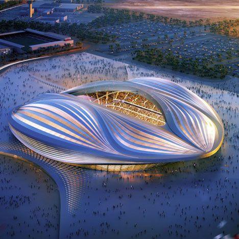 Zaha Hadid's ontwerp voor het Al Wakrah Stadium, één van de nieuwe locaties voor het wereldkampioenschap voetbal van 2022 in Qatar.