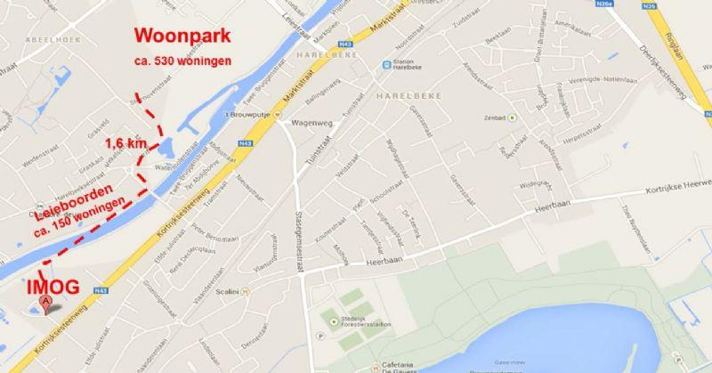 Kaartje met situering van de Imog-afvalverbrandingsinstallatie en de ongeveer 700 geplande woningen.
