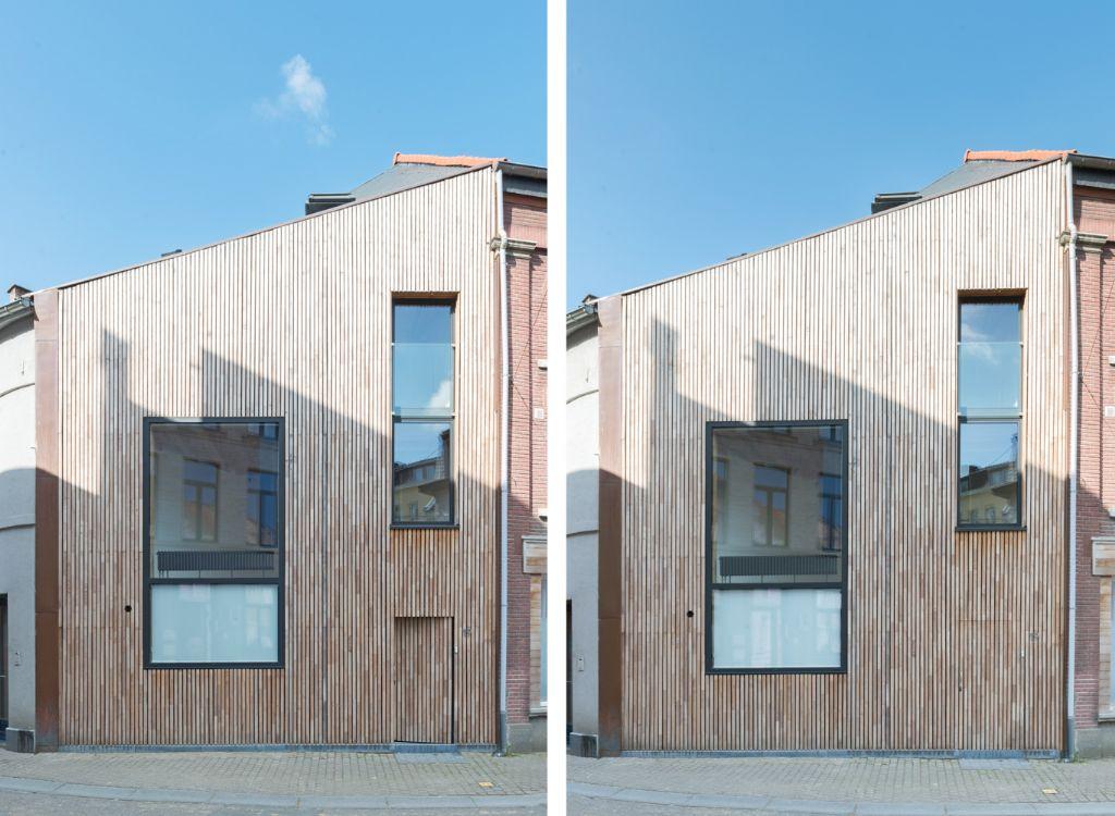 Singulière petite maison de ville avec ossature et bardage bois