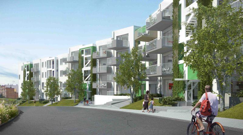Het gevelgroen geeft een mooi esthetisch effect, zeker in combinatie met de witte façades in crepi.