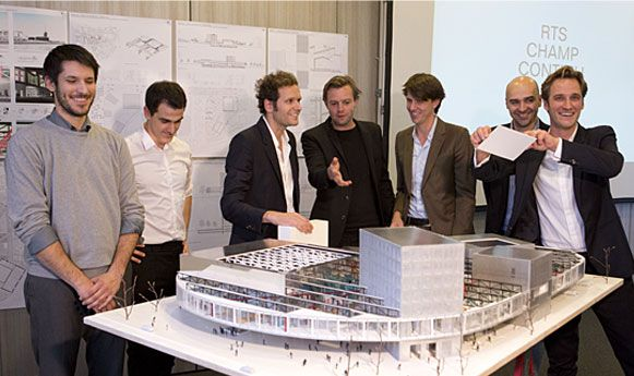 Winnend ontwerp van omroepgebouw Zwitserse Franstalige omroep Radio Télévision Suisse van Office Kersten Geers David van Severen