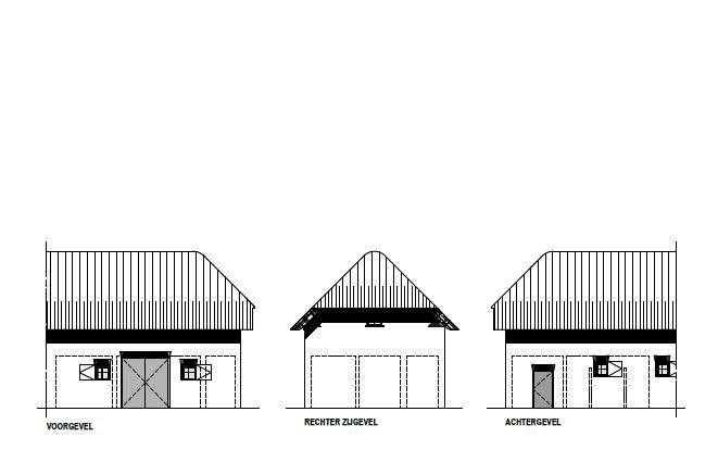 Het gevelplan van de paviljoenen.