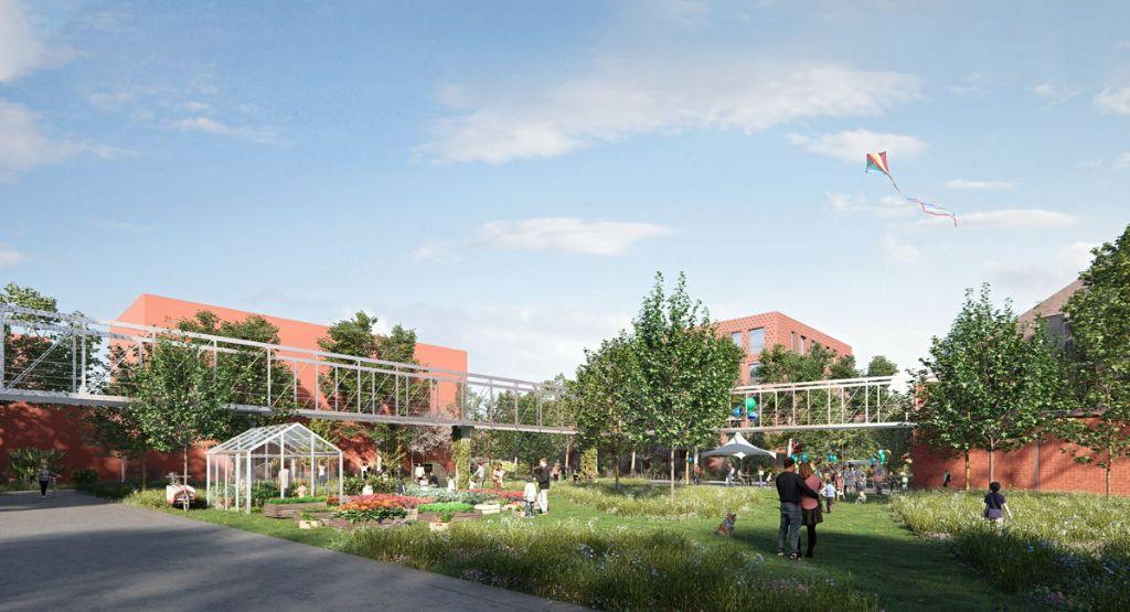 In Edegem wordt de verlaten Agfa-Gevaert bedrijfssite omgevormd tot het duurzaam woonproject Minerve door POLO Architects, Architecten Achtergael en OMGEVING in opdracht van Revive.