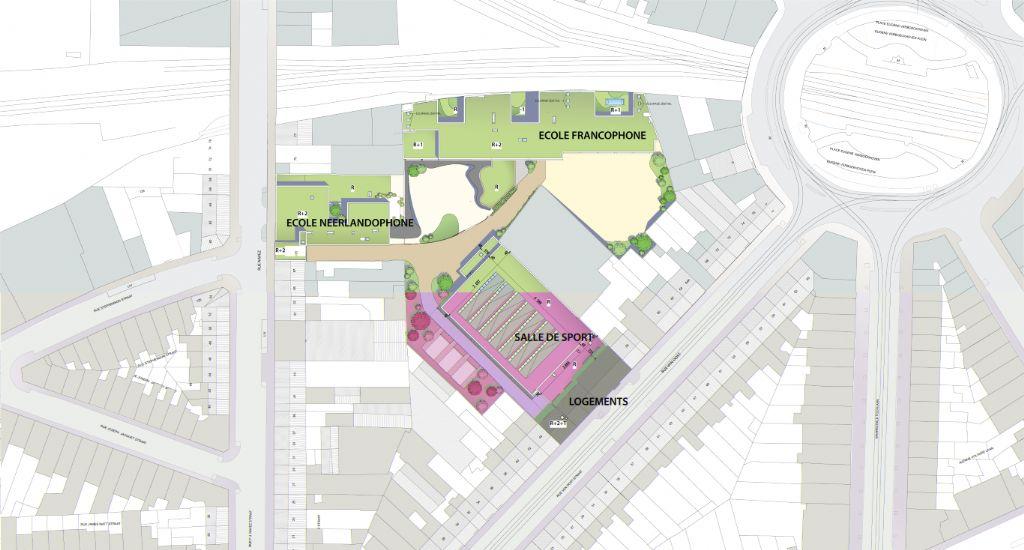 Ecoles, salle de sport et logements sur le site Van Oost à Schaerbeek