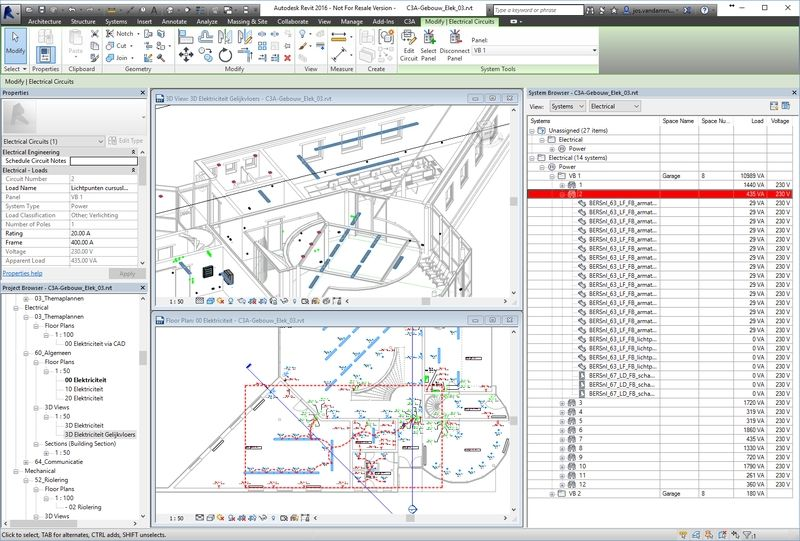 Om een en ander uit te testen, en om een praktisch voorbeeld te hebben, werd het gelijkvloers van het C3A-gebouw in 3D beschikbaar.