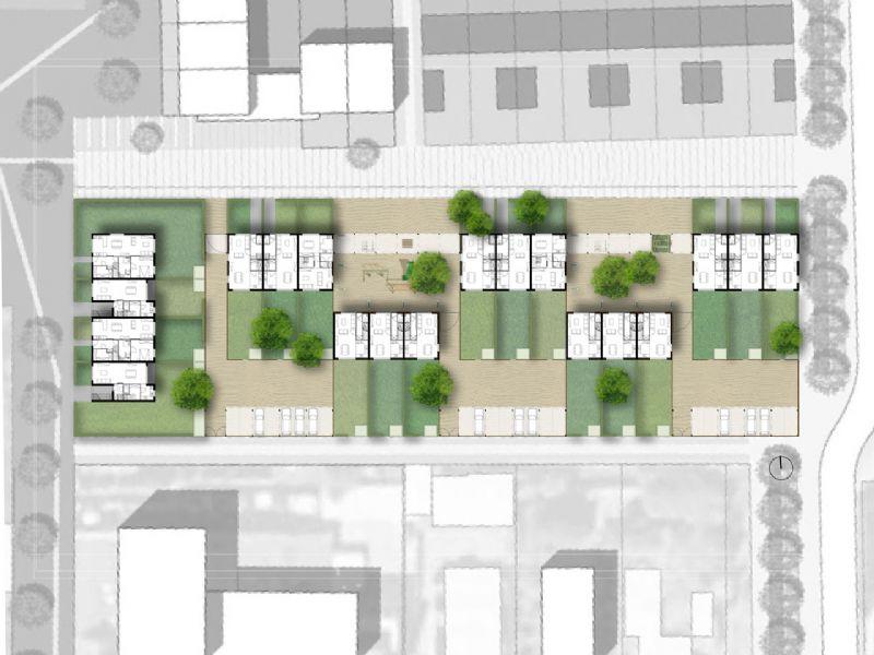 Situatieplan woonhof Klimopstraat.