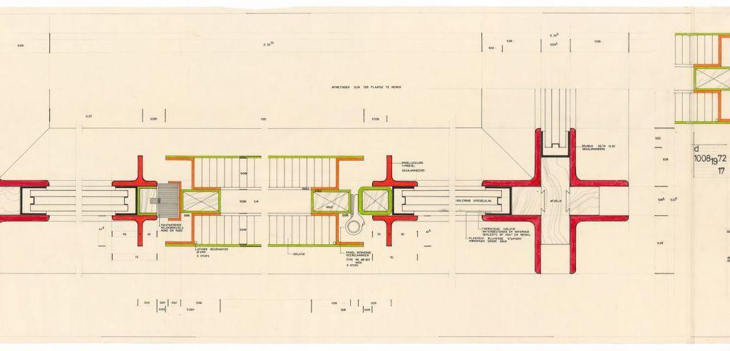 Juliaan Lampens, ontwerp voor een onthaalcentrum voor toeristen in Blankenberge, detail van een deuraansluiting, horizontale doorsnede, 1971-1972