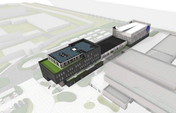 Het langgerekte complex zal bestaan uit drie delen: een kantoorgedeelte, een intermediaire zone met voornamelijk dienende functies en een open parkeergebouw voor dienst- en privévoertuigen van het politiepersoneel.