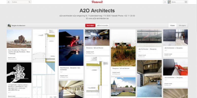 Het bord van bureau a2o architecten.