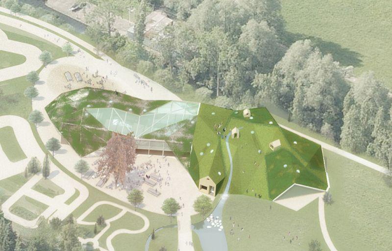 Door het gebouw te integreren in het landschap, blijft het park behouden.