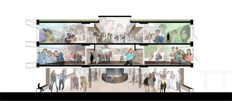 Het gebouw zal het voortgezet onderwijs huisvesten.