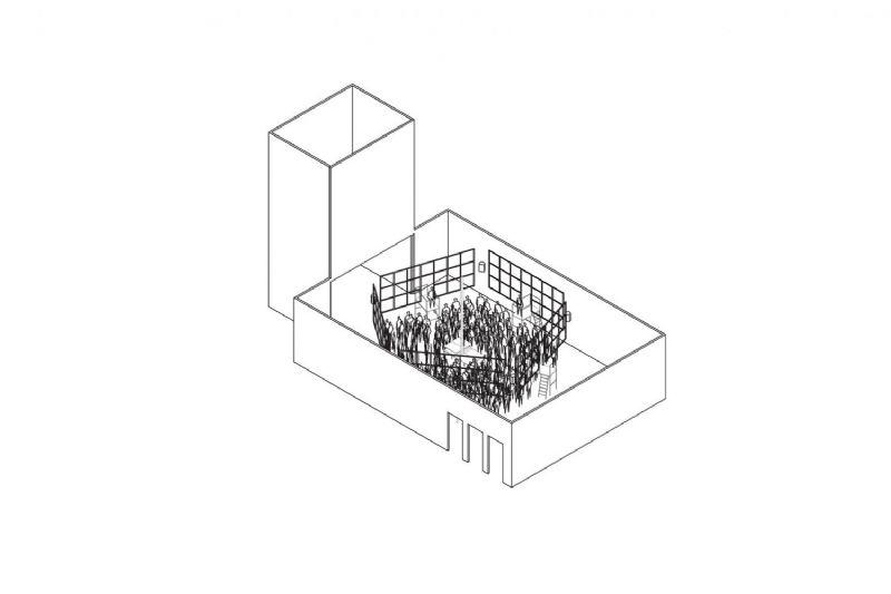 Theatervormgeving voor Men In Tribulation, door B-architecten.