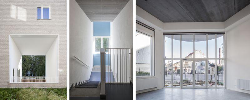 Ruime doorzichten doorheen de twee bouwvleugels verlichten het massieve bakstenen volume en creëren zichten naar het groene binnengebied en naar de skyline van de Noordwijk.