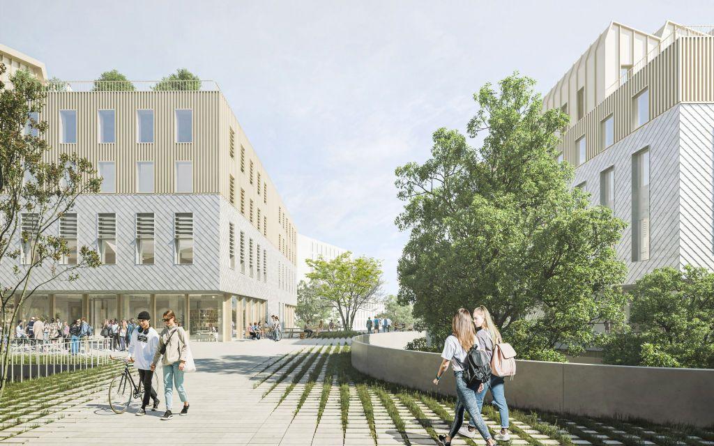 Evr-architecten, Arcadis, Inbo, OMGEVING en MBG doen ontwerp Howest Campus Brugge Station uit de doeken