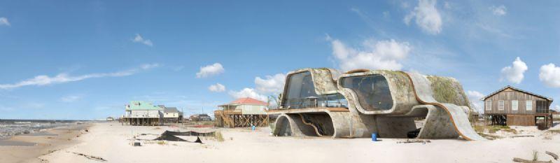 De huizen zijn een mix van beton en staal.