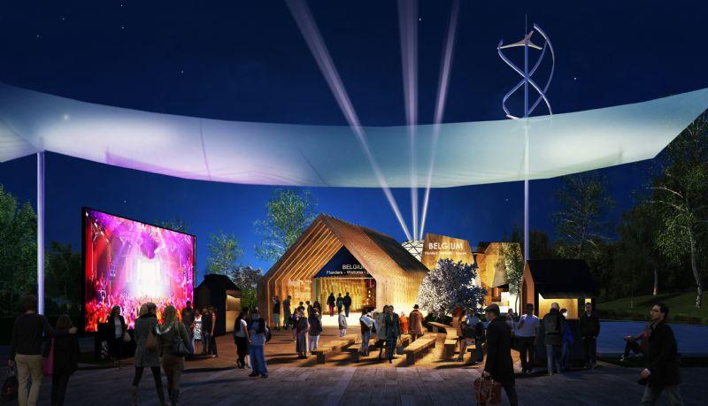 Het Belgische paviljoen gebruikt licht en beeld om de bezoeker te lokken.