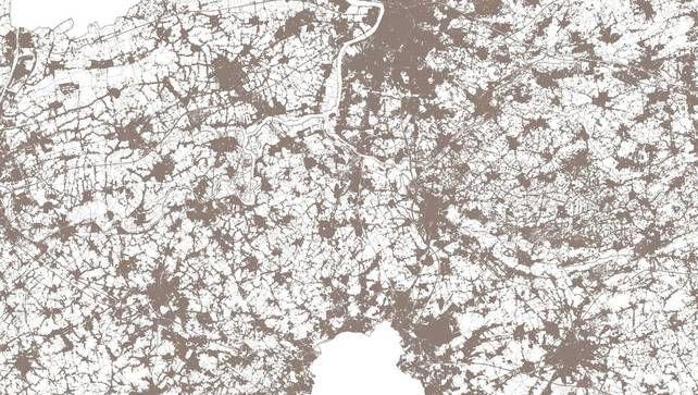 Een deel van de kaart - afkomstig van de administratie Ruimtelijke Ordening - waarop de bebouwde gronden in Vlaanderen weergegeven zijn. ©rv