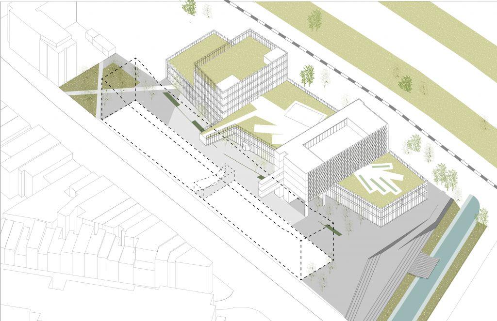 Het nieuwe gebouw krijgt groendaken en komt naast het huidige gebouw, aangegeven met een stippellijn, te liggen.
