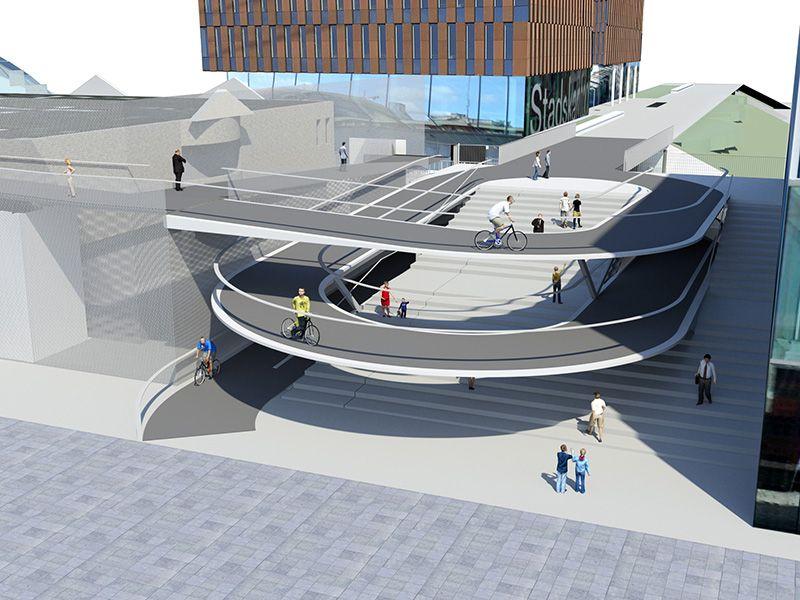 Station Leuven krijgt nieuwe, elegante fietsspiraal tussen station en Martelarenplein