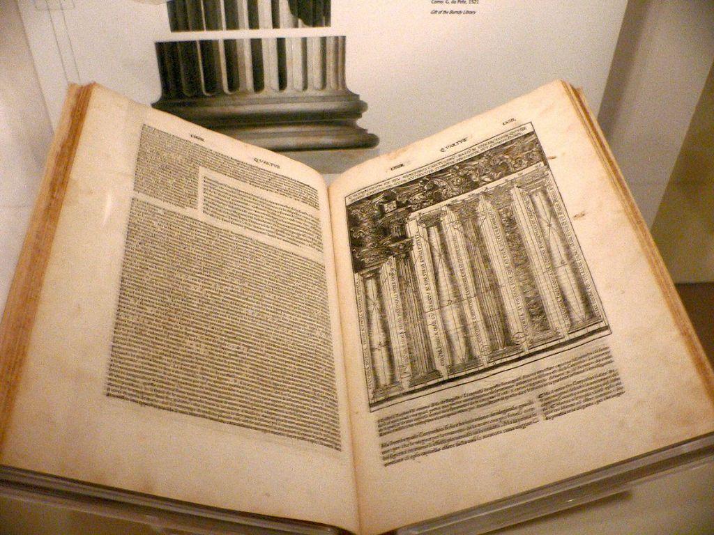 Italiaanse vertaling van 'De Architectura Libri Decem' van Vitruvius, bewaard in het Amerikaanse Smithsonian Museum.