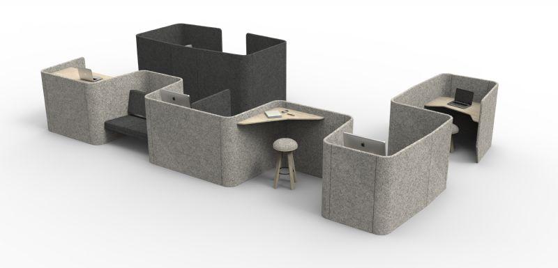 De kantoorruimte kan afwisselend worden gebruikt als vergaderruimte met zitbank, bureau of als lege ruimte voor eender welk doel.
