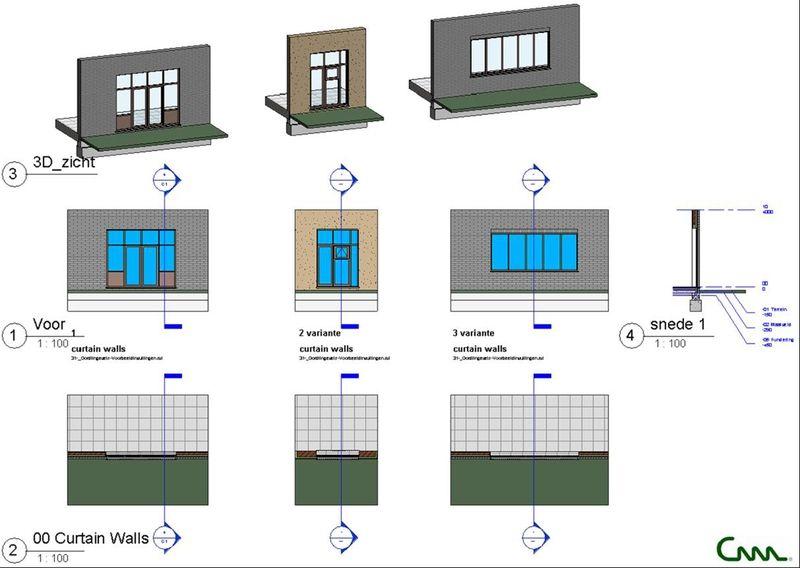 Voor alle niet voorziene omstandigheden is de werkmethodiek met Curtain Walls in Revit aangewezen.
