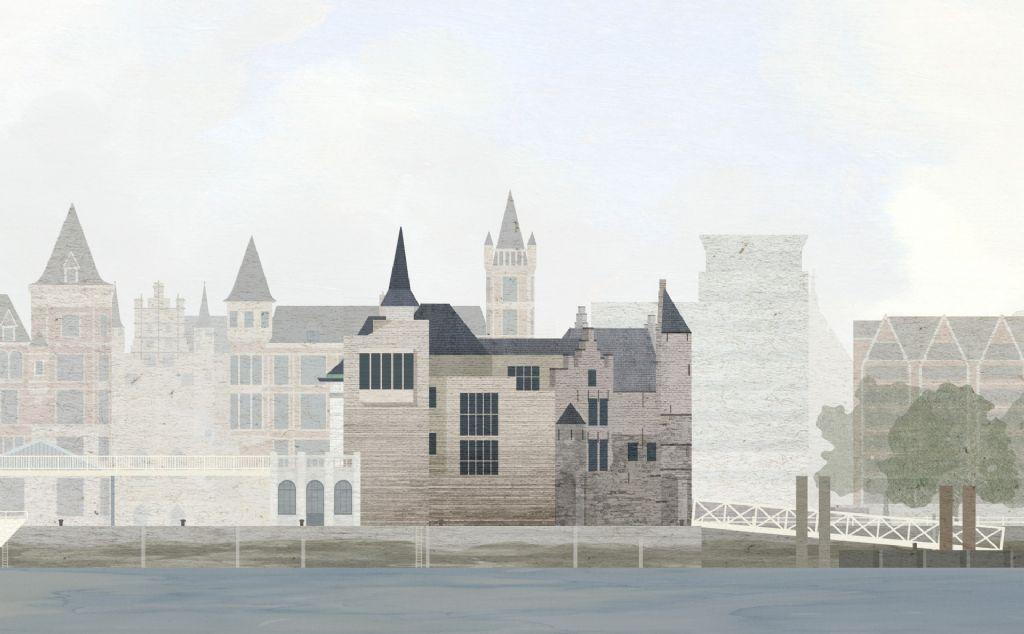 Het ontwerp van noAarchitecten voor de uitbreiding van het Steen in Antwerpen.