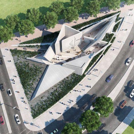 Het monument heeft de vorm van een davidster.