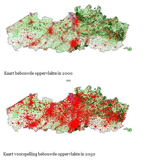 Vlaanderen zal tegen 2050 nog sterker bebouwd zijn.