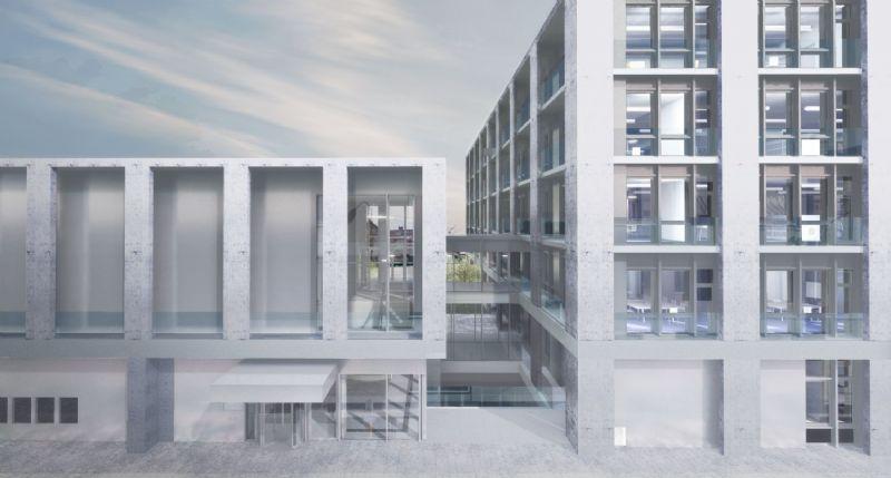 De twee vormen staan haaks op elkaar © Tony Fretton Architects