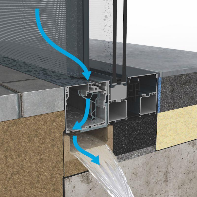 Doorsnede geïntegreerde waterafvoer in combinatie met een afvoergootje.