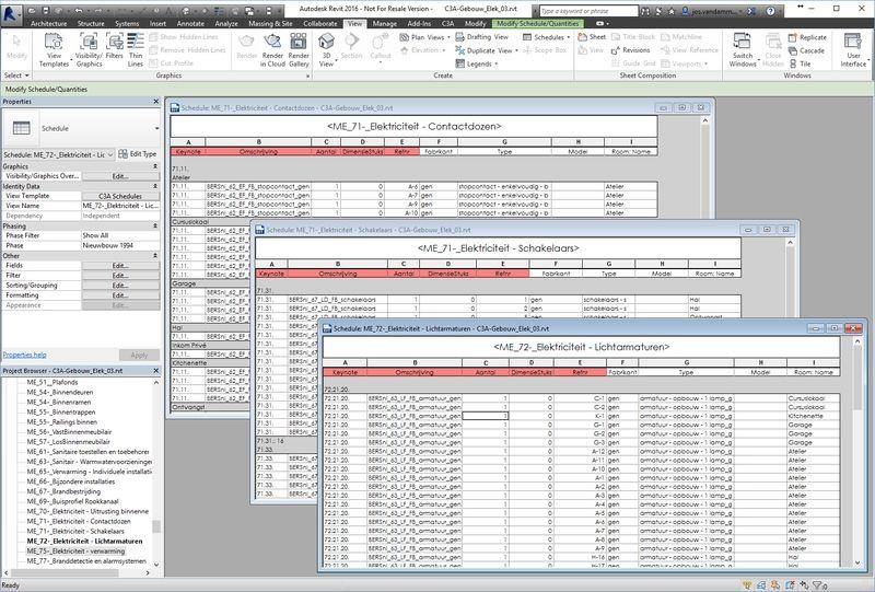 Meerdere Schedule Tables of meettabellen werden voorbereid in de template.