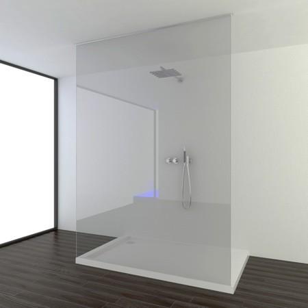 Onzichtbaar gepatenteerd muur- en plafondprofiel van Aquaconcept houdt doucheglas stevig vast
