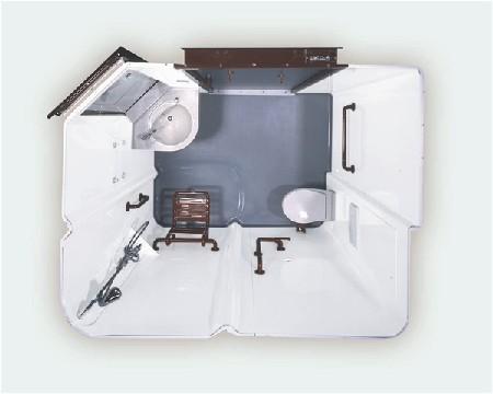 Prefab badkamers in polyester voor de zorgsector