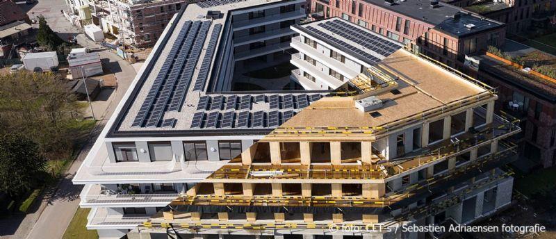 Energieneutraal dienstencentrum met serviceflats volgens de principes van circulair bouwen